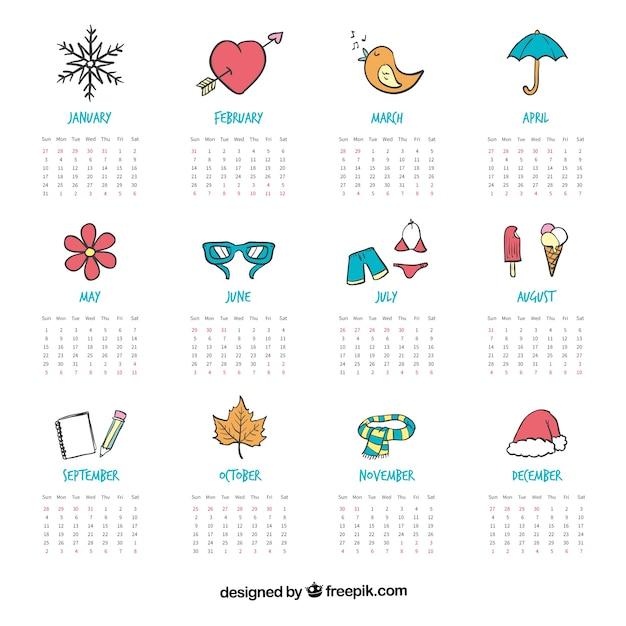 Calendar Design Drawing : Hand painted cute calendar with drawing vector premium