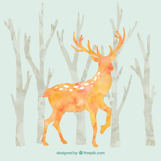 Hand painted deers Free Vector