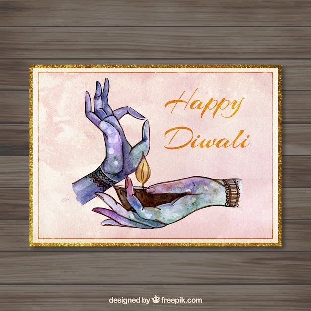 hand painted diwali card vector free download