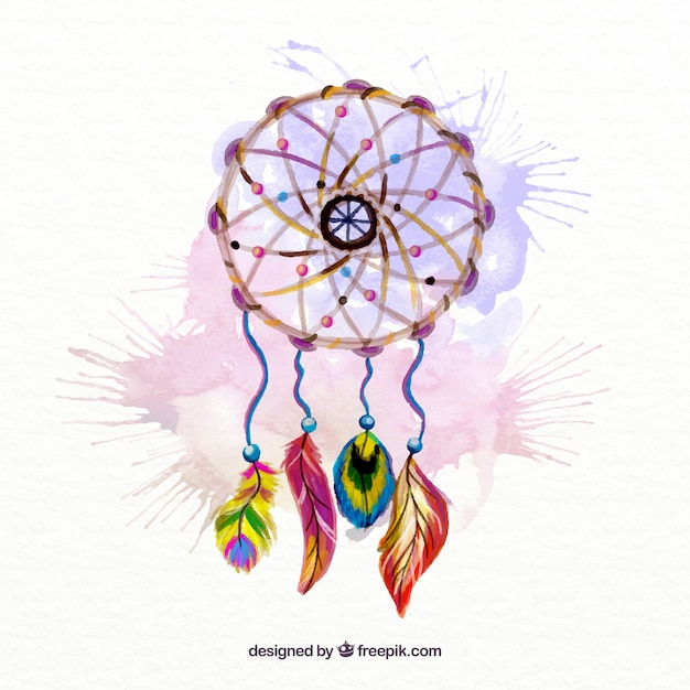 Hand painted dream catcher with watercolor splashes background Free Vector