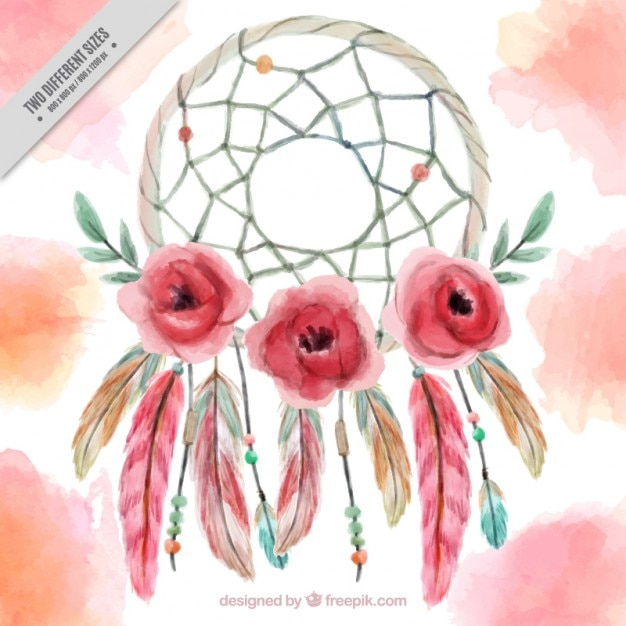 Hand painted dreamcatcher background with flowers and feather Free Vector