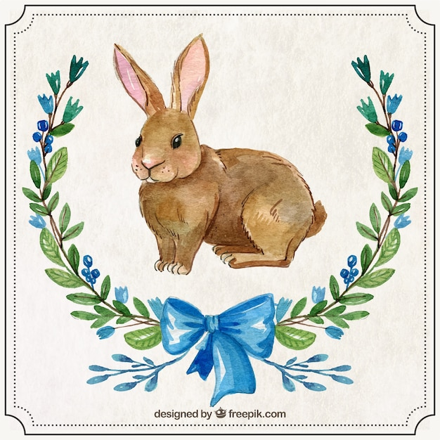 Hand painted easter rabbit with ornaments Free Vector