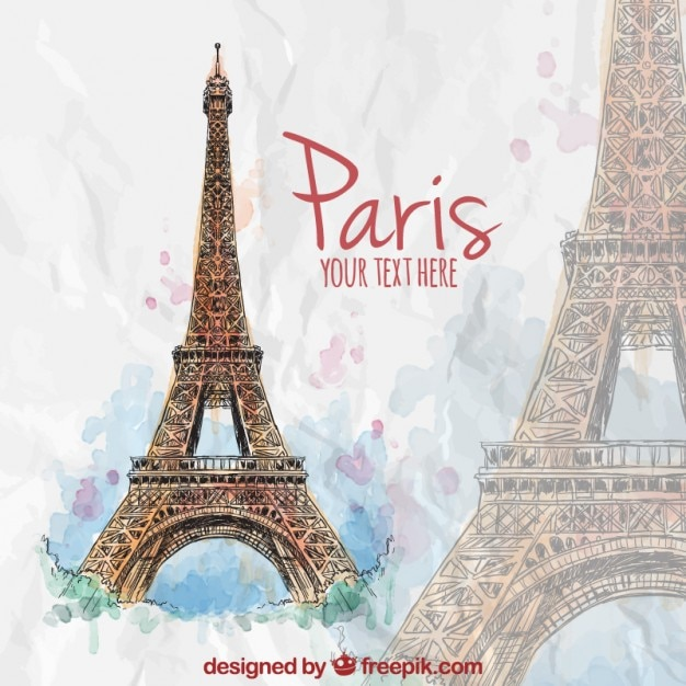 Hand painted eiffel tower Free Vector