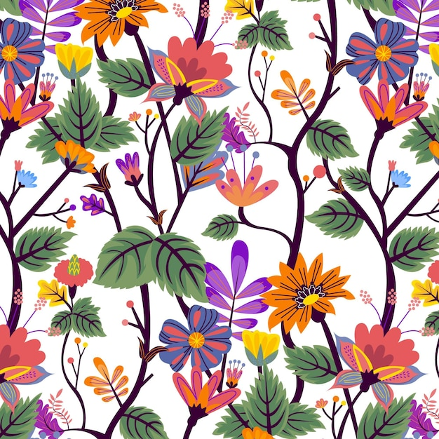 Motivo floreale esotico dipinto a mano con foglie Vettore gratuito