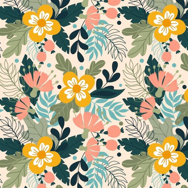 Hand painted exotic floral pattern with yellow flowers Free Vector