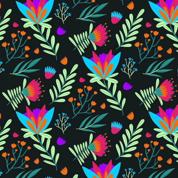 Hand painted exotic floral pattern Free Vector