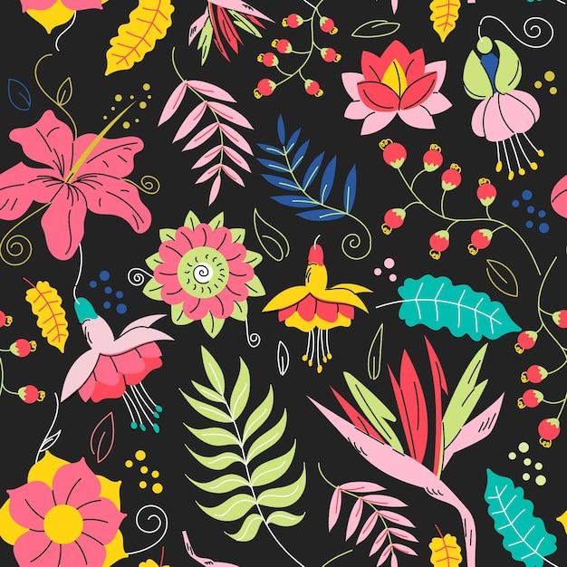 手描きのエキゾチックな花柄 無料ベクター