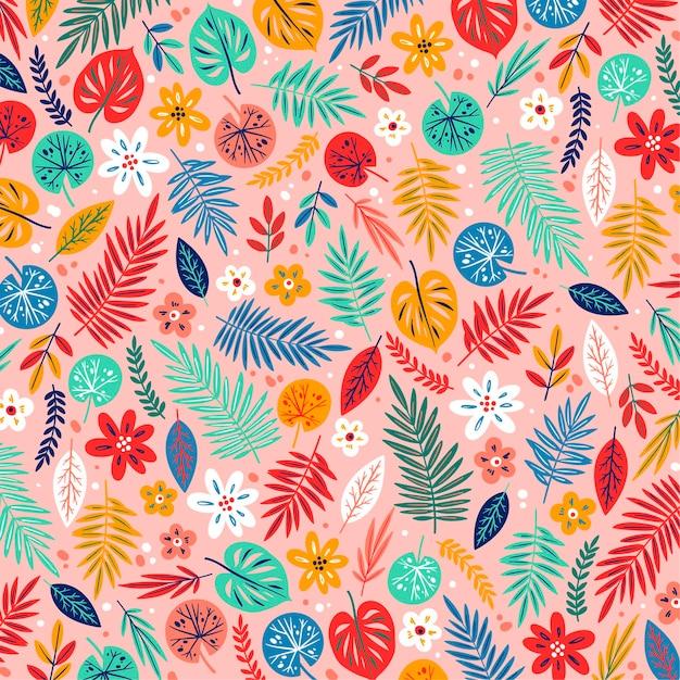 손으로 그린 이국적인 꽃 패턴 프리미엄 벡터