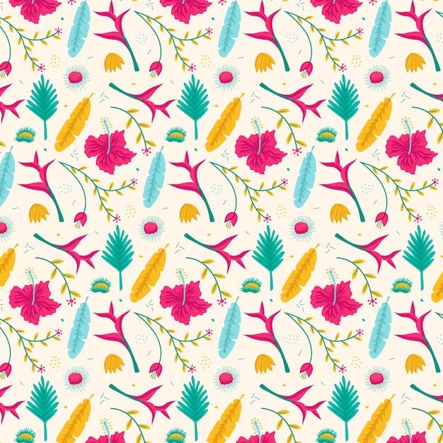 손으로 그린 이국적인 꽃 패턴 무료 벡터