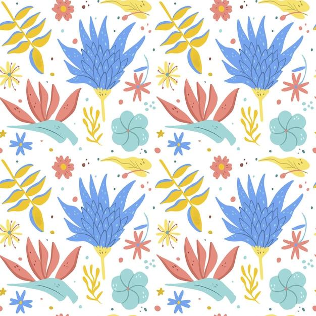 Ручная роспись экзотическим цветочным узором Бесплатные векторы