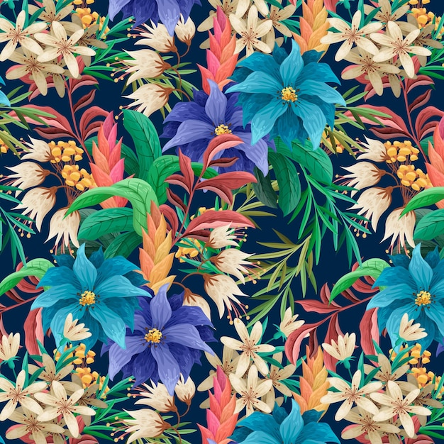 Motivo floreale esotico dipinto a mano Vettore gratuito