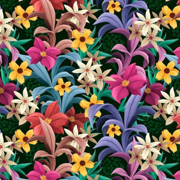 Раскрашенный вручную экзотический цветочный узор Бесплатные векторы
