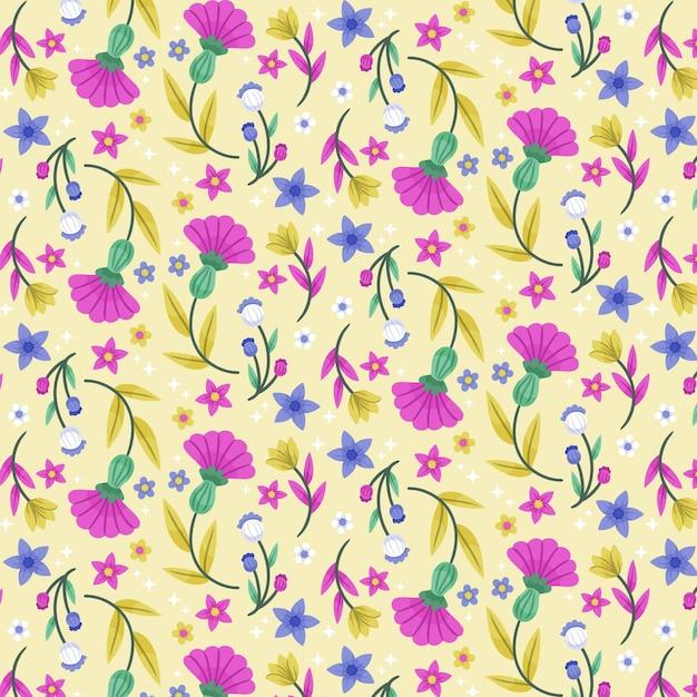 손으로 그린 이국적인 꽃과 나뭇잎 패턴 무료 벡터