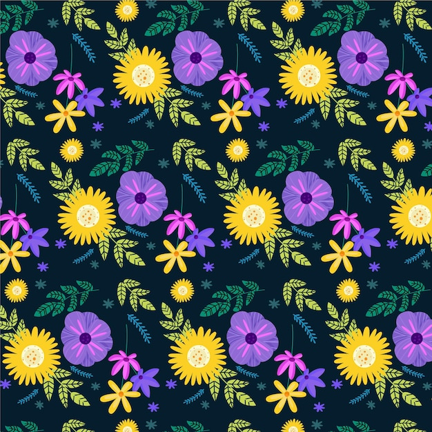 Hand painted exotic flowers and leaves pattern Free Vector
