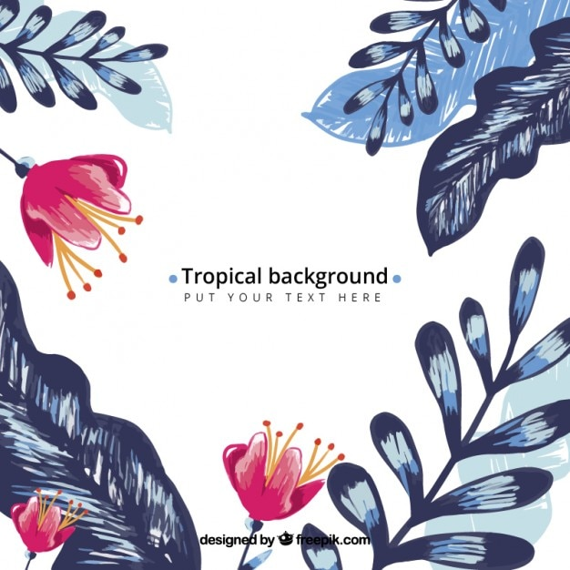 Hand painted exotic flowers with blue leaves\ background