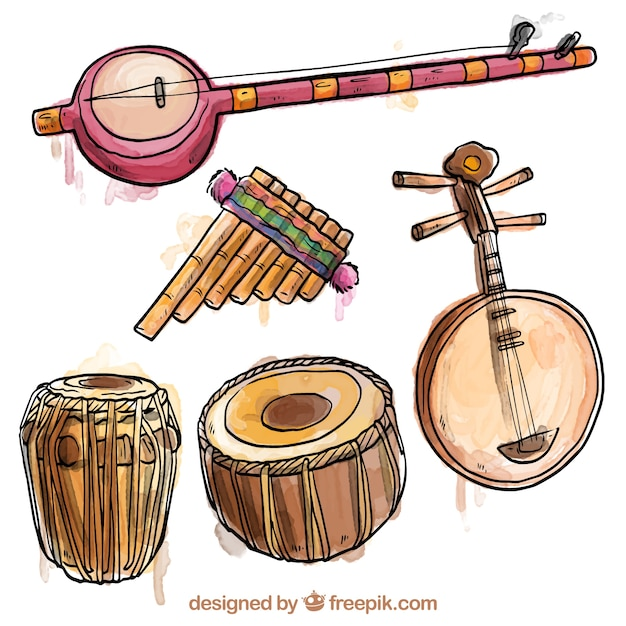 Hand painted exotic instruments vector free download for Commercial house music