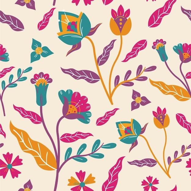 Modello di foglie e fiori esotici dipinti a mano Vettore gratuito