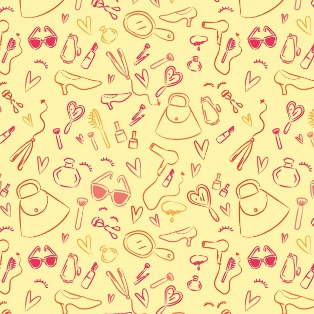 Hand painted fashion pattern Free Vector