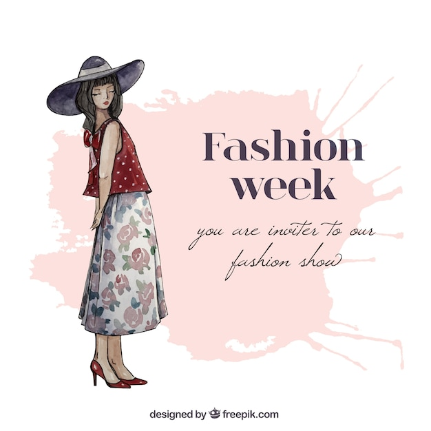 Hand painted fashion week invitation Vector
