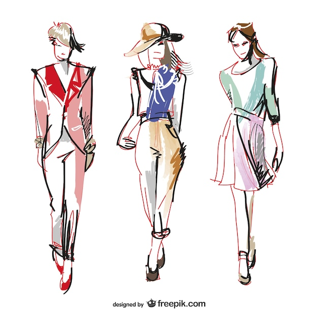 Hand Painted Fashion Women Vector Free Download