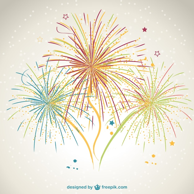 Hand painted fireworks Free Vector