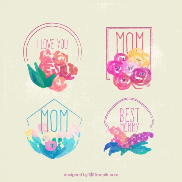 Hand painted floral badges of mother's day Free Vector