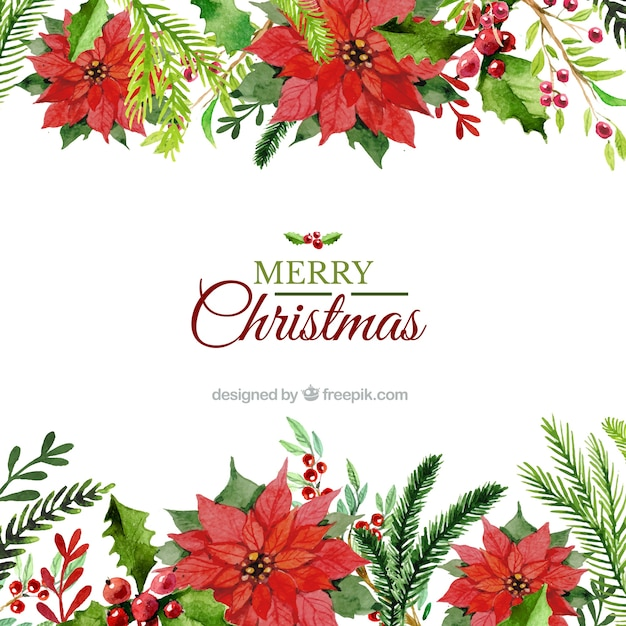 Hand painted floral christmas background vector premium