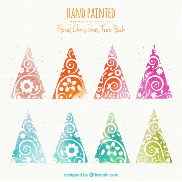 Hand painted floral christmas trees in colorful style