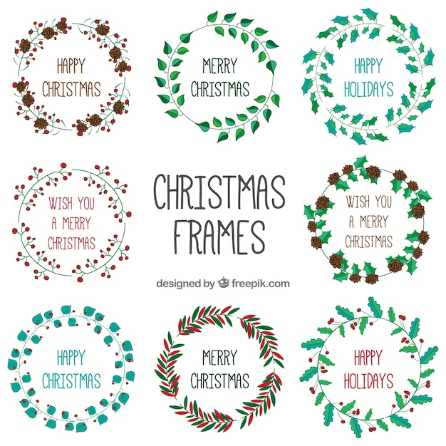 Hand painted floral christmas wreath Vector | Premium Download