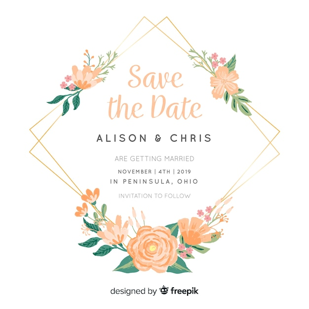 Hand painted floral frame wedding invitation Free Vector