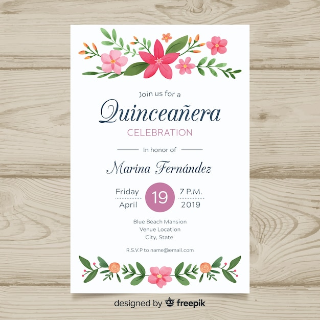 Hand painted floral ornaments quinceanera card template Free Vector