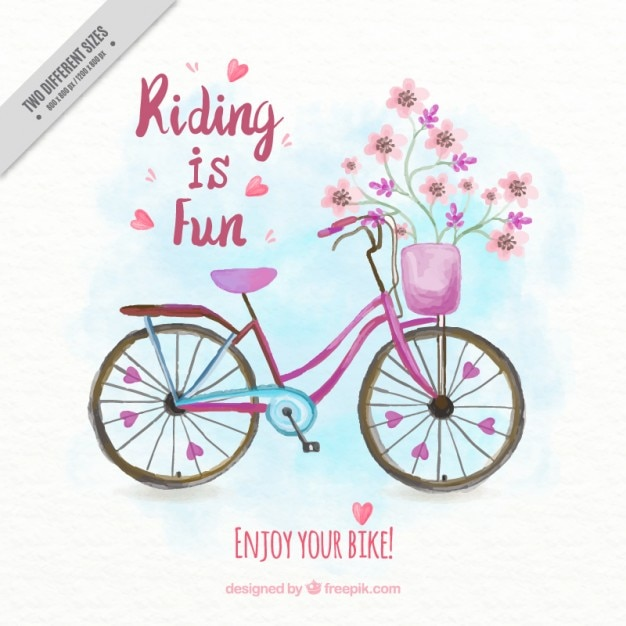 Hand painted floral vintage bicycle background\ with phrase
