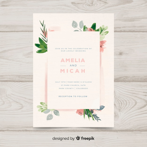 Hand painted floral wedding invitation template Free Vector