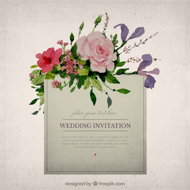 Hand Painted Floral Wedding Invitation Vector Free Download