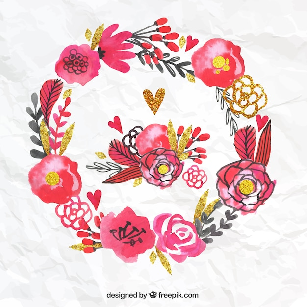 Hand painted floral wreath Free Vector