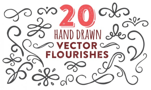 Hand painted flourishes vector pack Free Vector