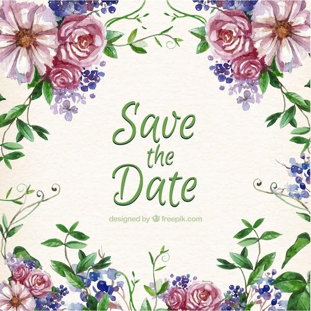 Wedding Flowers Vector Free Download : Hand painted flower wedding invitation vector free download