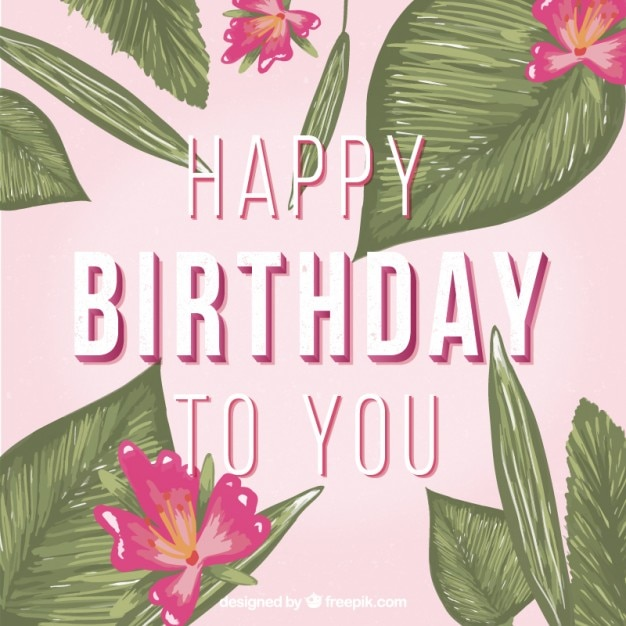 Hand Painted Flowers And Leaves Birthday Card Vector Free Download