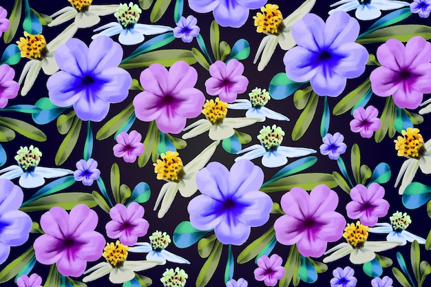 Hand painted flowers background Free Vector
