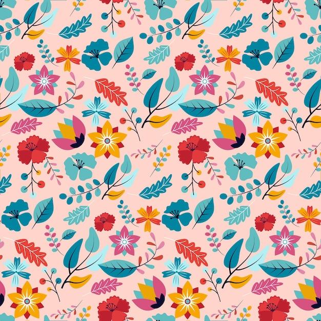 손으로 패브릭 패턴에 꽃을 그린 무료 벡터