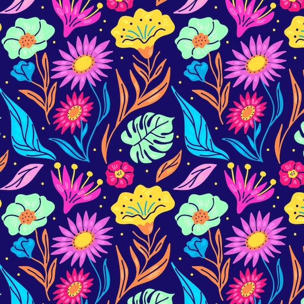 손으로 패브릭 패턴에 꽃을 그린 프리미엄 벡터