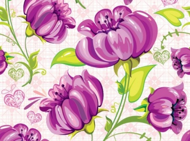 Hand-painted flowers pattern background
