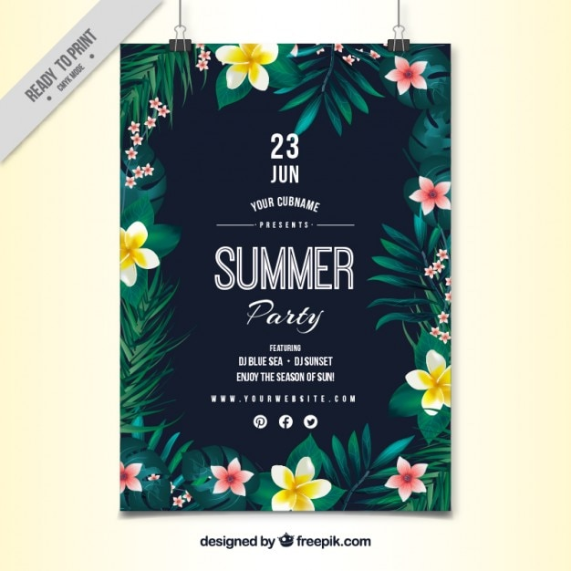 Hand painted flowers with leaves party\ poster