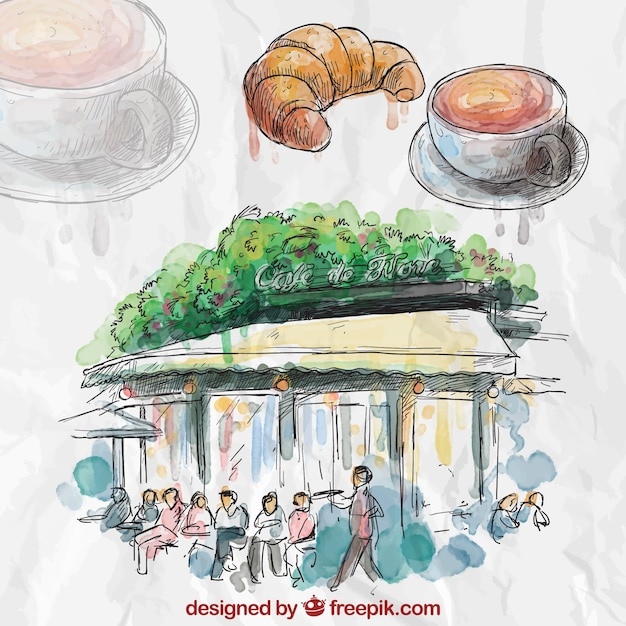 Hand painted french cafe Free Vector