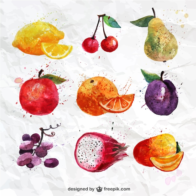 Hand painted fruits collection Free Vector