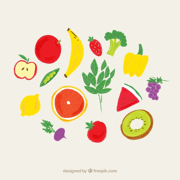 Hand painted fruits Premium Vector