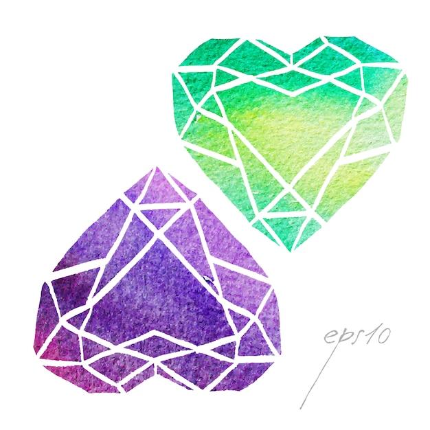 A mano collezione gemme dipinte Vettore gratuito