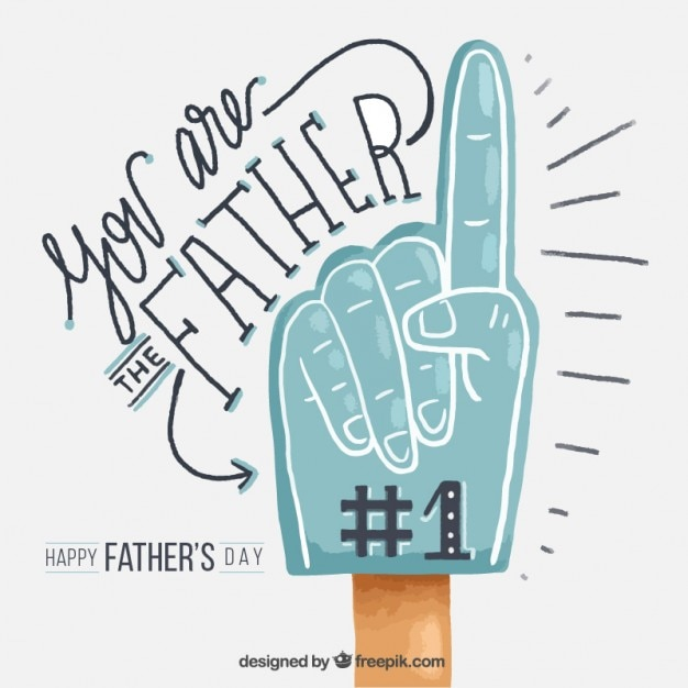 Hand painted hand father's day greetings Free Vector