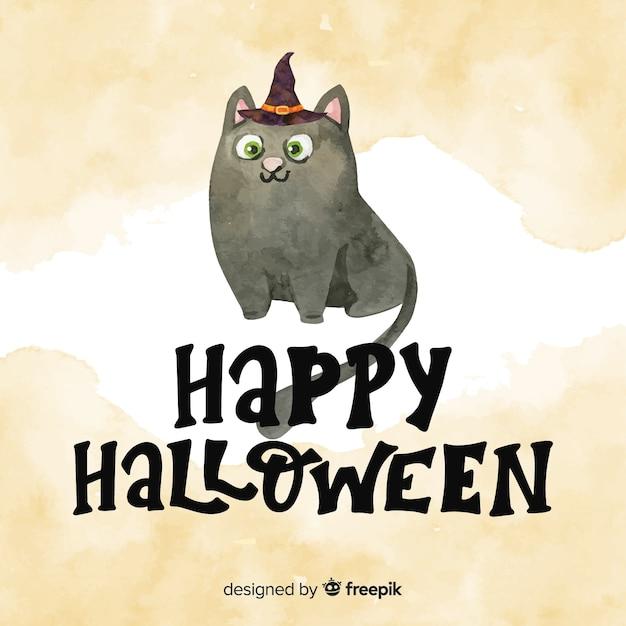 Ручная роспись happy halloween надписи с кошкой в акварели Бесплатные векторы