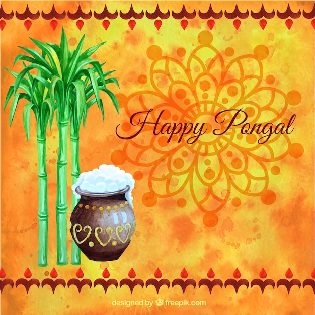 Hand painted happy pongal on orange background Free Vector